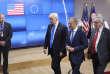 Le président américain Donald Trump, avec Donald Tusk, président du Conseil européen, et Jean-Claude Juncker, président de la Commission européenne, à l'OTAN (Bruxelles), le 25mai.
