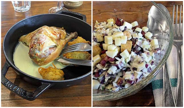Le poulet fermier et la salade de chou.