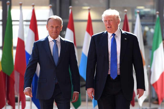 Donald Tusk et Donald Trump, le 25 mai à Bruxelles.