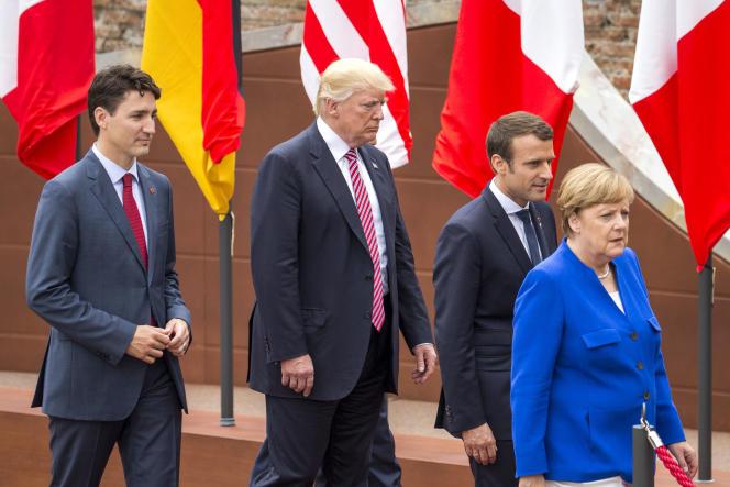 Justin Trudeau,Donald Trump, Emmanuel Macron, et Angela Merkel, à Taormine (Italie) le 26 mai.