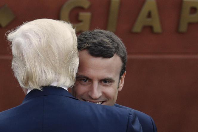 Emmanuel Macron, lors de sa rencontre avec Donald Trump au G7.