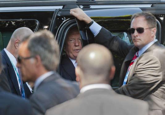 Donald Trump arrive au sommet du G7, à Taormine, en Sicile, le 27 mai.