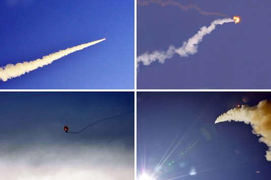 Images non datées de tirs de missiles fournies par la KCNA, l'organe de presse officiel du régime nord-coréen.
