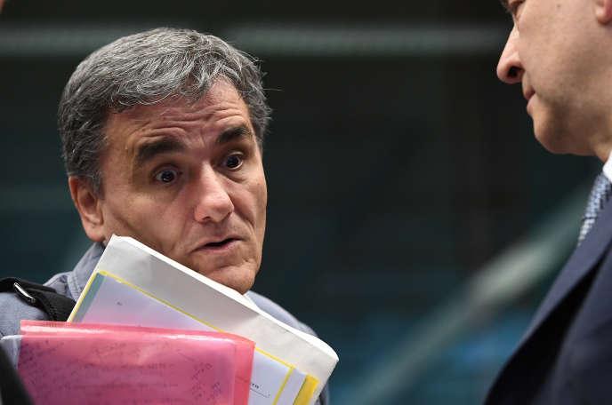 Euclide Tsakalotos, le ministre grec des finances, lors de l'Eurogrope du 22mai à Bruxelles.