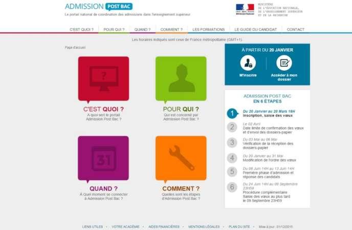 Page d'accueil APB 2017