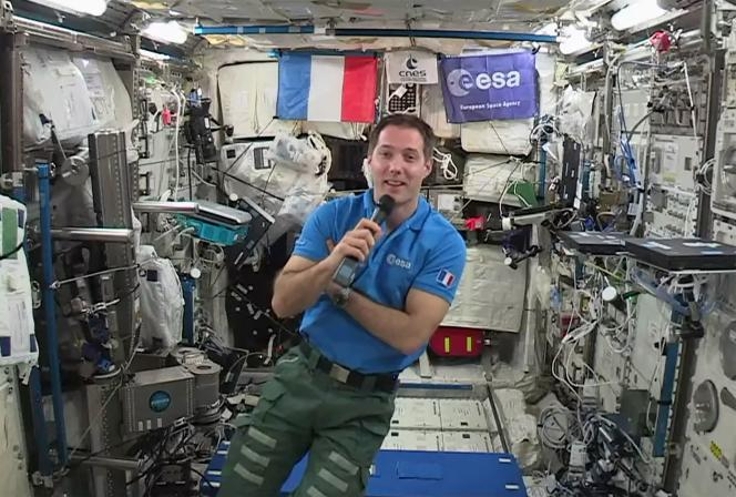 Thomas Pesquet à bord de la Station spatiale internationale, en mai 2017.