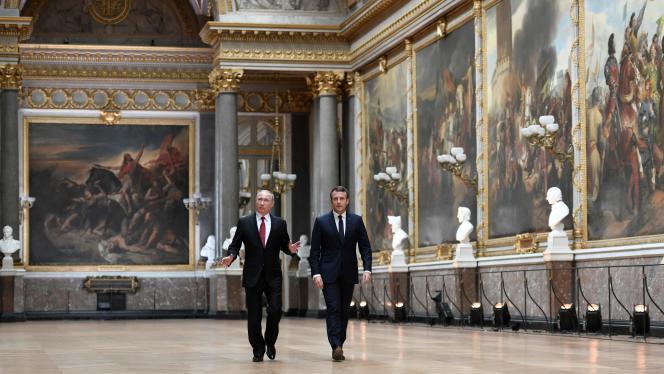 Vladimir Poutine et Emmanuel Macron, au château de Versailles, le 29 mai 2017.