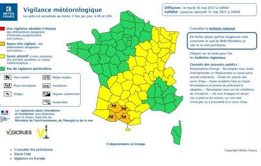 L'alerte orange a été maintenue, mardi 30 mai, pour quatre départements d'Occitanie.