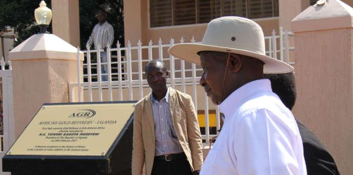 Le président ougandais Yoweri Museveni, lors de l'inauguration de la raffinerie d'or à Entebbe, le 22 février 2017.