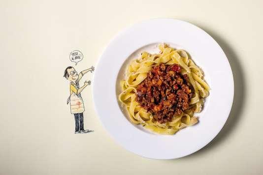 Pour ses pâtes à la bolognaise, Guillaume Long préconise des tagliatelles plutôt que des spaghettis.