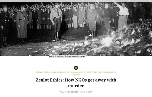 Illustration d'un billetde David Zaruk, « Ethique pour fanatiques : comment les ONG s'en tirent impunément», publié le 5 avril.
