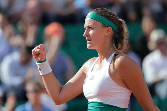 Kristina Mladenovic après sa victoire face à Sara Errani.