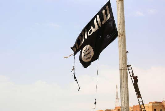 Un drapeau de l'organisation terroriste Etat islamique, le 30 avril 2017, près de Rakka, en Syrie.