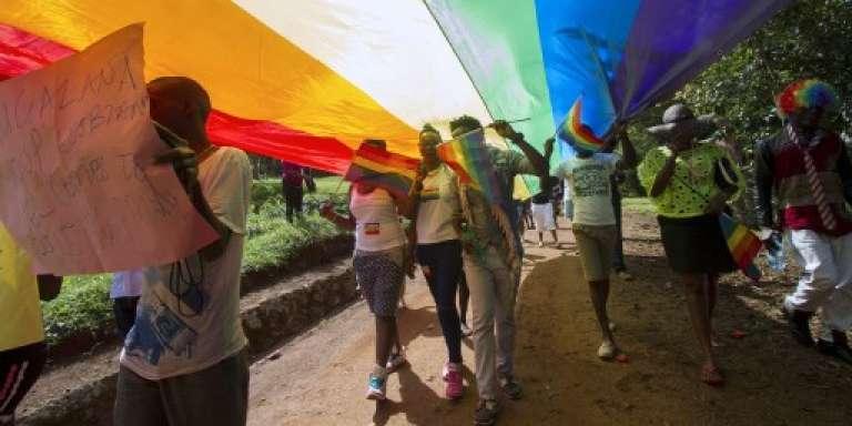 Lors de la Gay Pride à Entebbe, en Ouganda, le 8 août 2015.