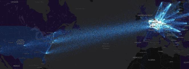 Une visualisation des ordinateurs impliqués dans la circulation des informations sur le réseau Tor, grâce au site Torflow