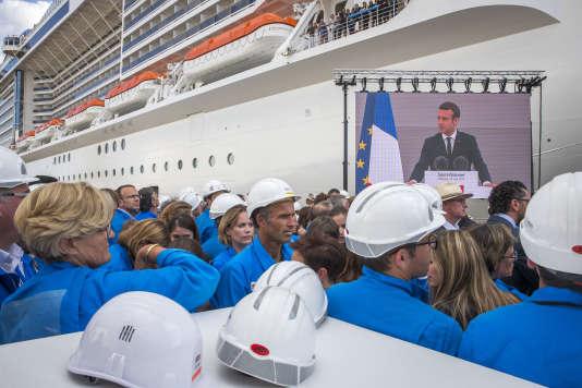 Emmanuel Macron, président de la république, participe à l'inauguration du navire de croisière MSC Meraviglia aux chantiers navals de Saint-Nazaire, mercredi 31 mai 2017.