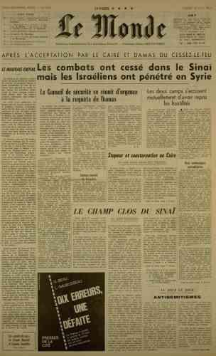 Le 10 juin, le cessez-le-feu est accepté par l'Egypte et la Syrie.