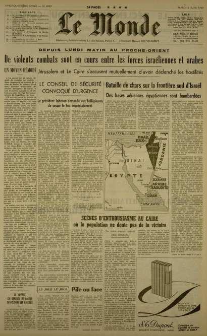 La « une» du 6 juin décrit les violents combats entre forces israéliennes et arabes et notamment les batailles de chars.