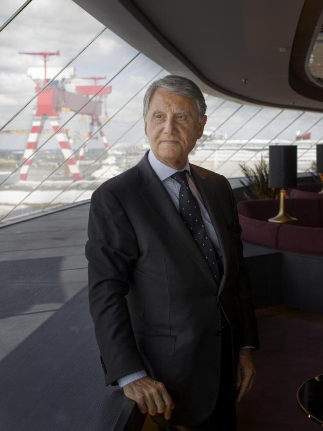 Gianluigi Aponte, à bord du «Meraviglia» le 31 mai.Théophile Trossat pour «Le Monde»