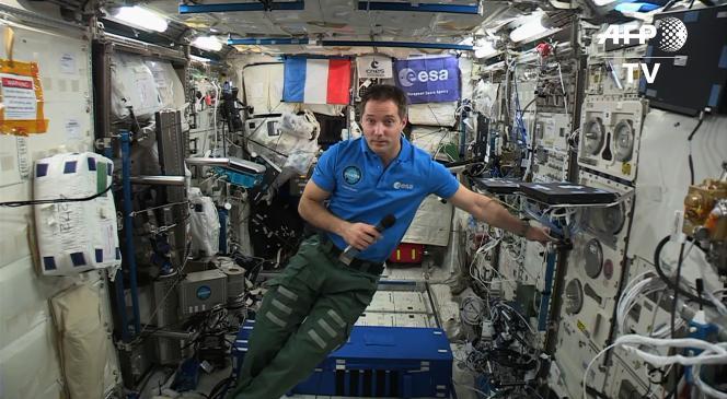 Le spationaute Thomas Pesquet lors d'un entretien depuis la station spatiale internationale avec l'Agence France Presse, le 30 mai.