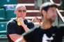 Andre Agassi et Novak Djokovic à l'entraînement, le 29 mai à Roland-Garros.