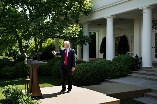 US President Donald Trump leaves after announcing the US will withdraw from the Paris accord in the Rose Garden of the White House on June 1, 2017 in Washington, DC.