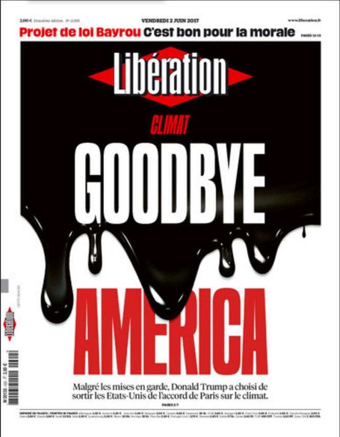 La Une du journal Libération, le vendredi 2 juin 2017.