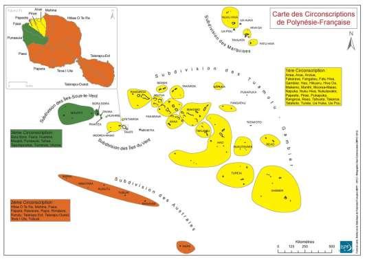 Carte des circonscriptions de Polynésie françaises