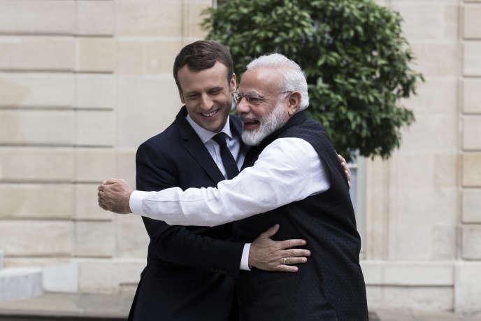Emmanuel Macron et le premier ministre indien Narendra Modi, à l'Elysée, le 3 juin 2017.