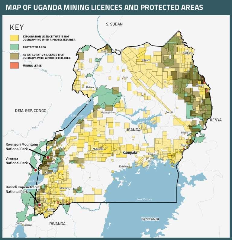 La carte des licences d'exploitation minière et des zones naturelles protégées en Ouganda.