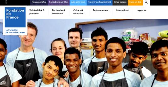 Portail de la fondation Nourrir, aimer, donner sur le site de la Fondation de France. Copie d'écran.