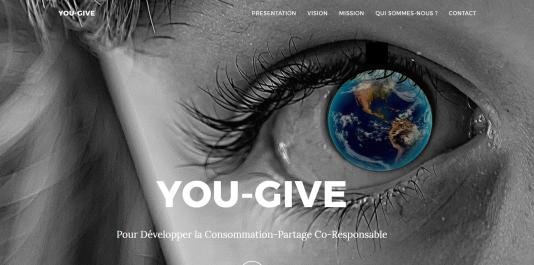 Ecran d'accueil du site Internet de l'association You Give.