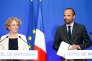 Le premier ministre Edouard Philippe (d) et la ministre du travail Muriel Penicaud (g) dévoilent les réformes du travail, le 6 juin 2017 à Paris.