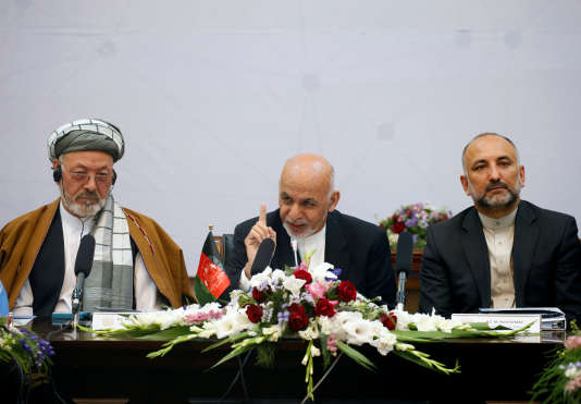 Le président afghan Ashraf Ghani (au centre), le 6 juin à Kaboul.