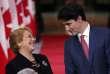 Michelle Bachelet et Justin Trudeau lors de leur conférence de presse commune, le 5 juin.