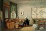 Alexander von Humboldt dans son étude, lithographie d'après Eduard Hildebrandt
