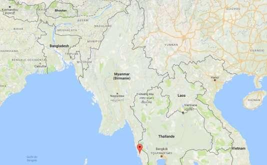 Carte (Google) de la Birmanie, en rouge la région où a été signalé pour la dernière fois l'avion militaire.