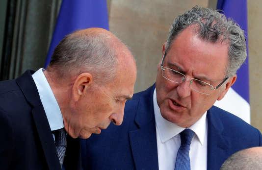 Richard Ferrand (à droite) avec Gérard Collomb à l'Elysée le 7 juin.