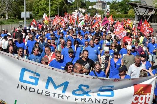 Manifestation de soutien aux salariés de GM&S Industry, le 16 mai.
