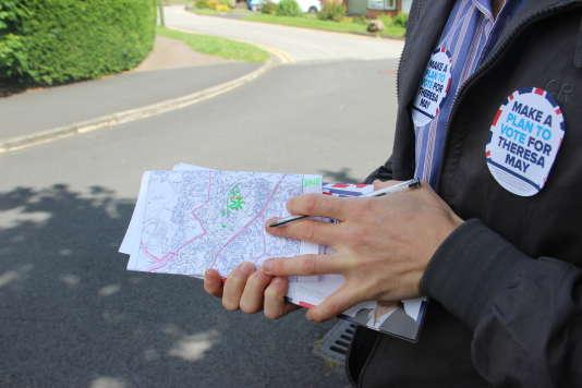 Une carte précise des quartiers à convaincre a été mise au point par le bureau local du Parti conservateur.