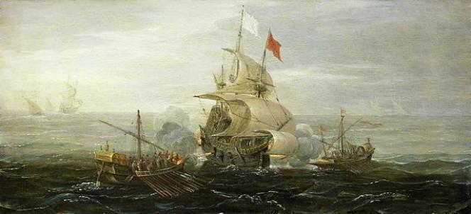 « Un bateau français attaqué par des pirates», d'Aart van Antum(vers 1615).