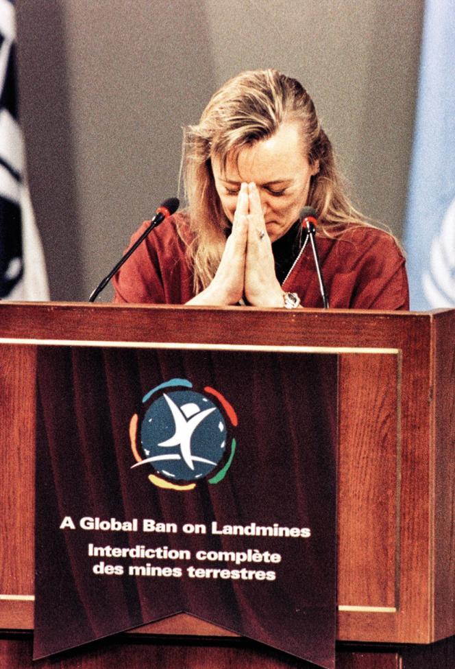 Jody Williams a reçu le prix Nobel de la Paix pour sa campagne contre les mines antipersonnel, en 1997.