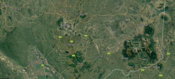 Image satellite du sud du Malawi, l'un des pays les plus pauvres du monde.