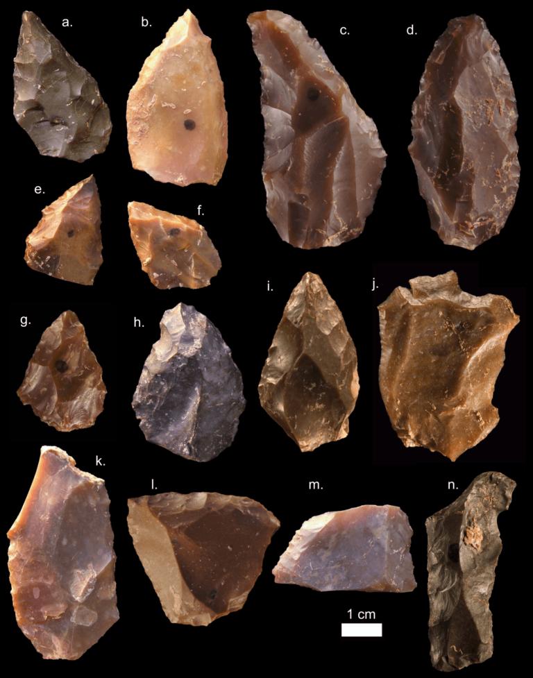 Certains outils en pierre découverts sur le site du Djebel Irhoud, au Maroc.