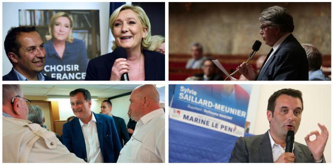 De gauche à droite et de haut en bas : Marine Le Pen, Gilbert Collard, Louis Alliot et Florian Philippot.