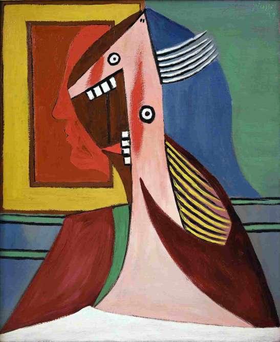«Cette huile sur toile de 1929 tranche radicalement avec les pastels, doux et mélancoliques, que Picasso consacre à son épouse au début de la décennie. Le corps d'Olga est l'objet de toutes les dislocations ; son visage, tout en angles, est presque réduit à une dentition menaçante. En arrière-plan, l'autoportrait de l'artiste, en aplats de rouges vifs, rajoute à l'impression de violence qui se dégage de l'œuvre.»