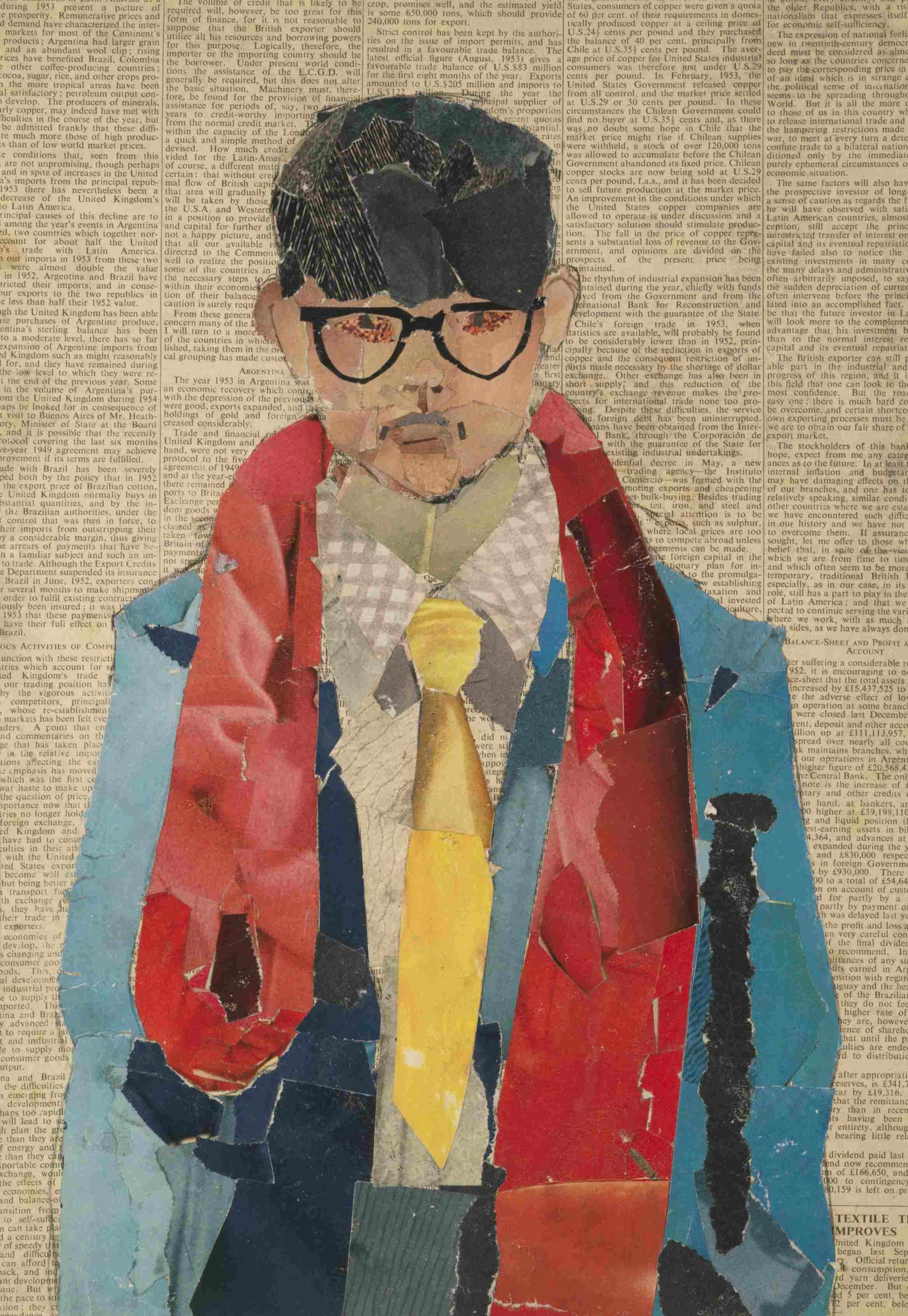 «Vêtements aux couleurs recherchées, coupe de cheveux au bol, lunettes à monture marquée : à dix-sept ans, David Hockney se présente en dandy. Les attributs qu'il se donne sont ceux de Stanley Spencer, le maître incontesté du réalisme qui constitue le socle de l'enseignement de ses professeurs de l'école d'art de Bradford. C'est à lui que le jeune Hockney emprunte l'âpre naturalisme de ses premiers tableaux et l'excentricité du personnage public qu'il entreprend ici de façonner.»