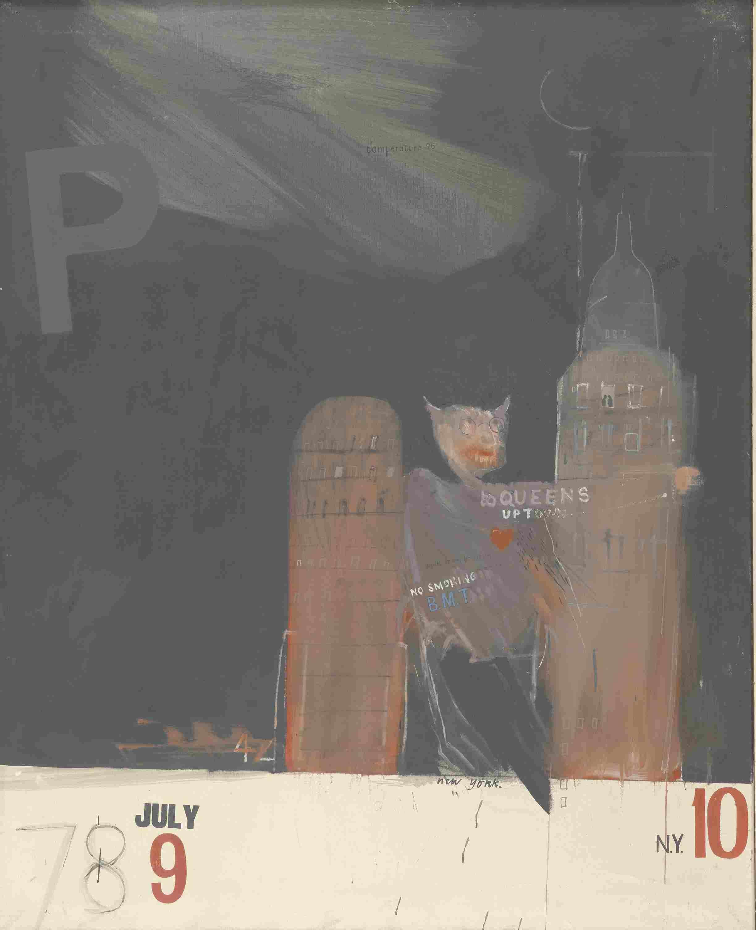 «En 1961, David Hockney effectue son premier voyage aux Etats-Unis. Loin de la puritaine Angleterre qui condamne encore l'homosexualité comme un crime (ce qui sera le cas jusqu'en1967), il découvre une ville, une communauté gay qui exprime ses orientations sexuelles sans contrainte ni pudeur. Dans ce monde sans tabous, les gratte-ciel se muent en protubérances phalliques, le quartier du Queens qu'il découvre sur les plans du métro new-yorkais devient la promesse sulfureuse d'un Hell-dorado, d'une Sodome sur Hudson.»