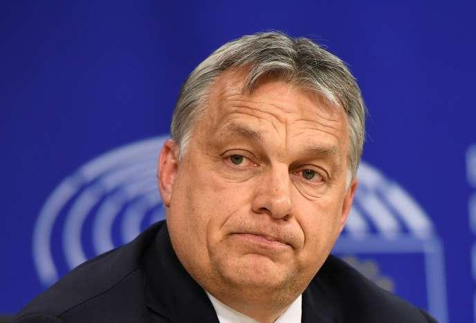 Viktor Orban, le premier ministre hongrois, au Parlement européen , le 26avril2017, à Bruxelles.