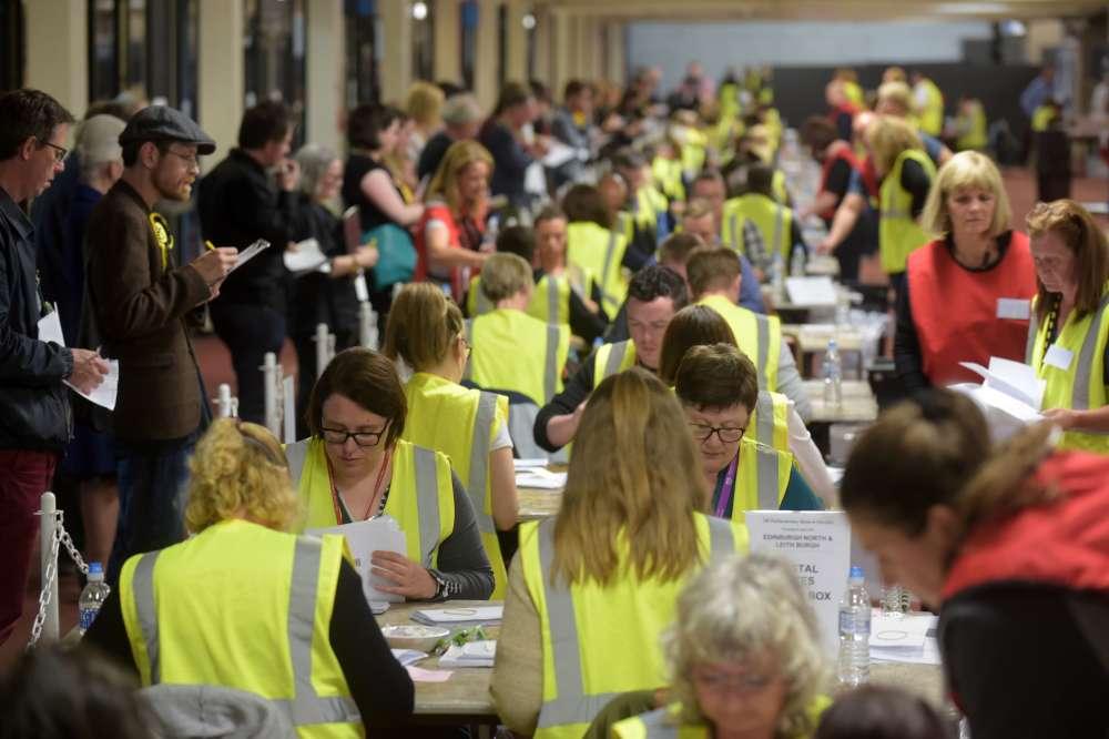 Le centre de vote de Meadowbank à Edimbourg en Ecosse.